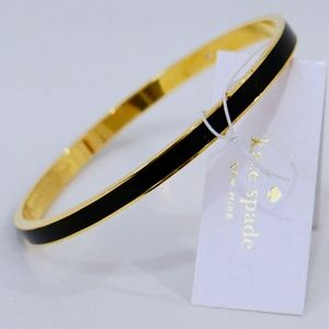 KATE SPADE~NWT~draw the line~BLACK/GOLD BANGLE